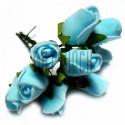 Набор декоративных розочек из фоамирана на проволоке, небесного цвета, Ø20 - 25 мм., 9 штук, REGINA