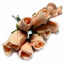 Набор декоративных розочек из фоамирана на проволоке, персикового цвета, Ø25 - 30 мм., 10 штук, REGINA