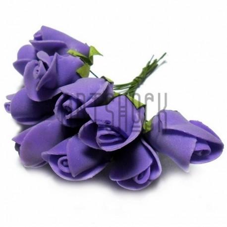 Набор декоративных розочек из фоамирана на проволоке, фиолетового цвета, Ø25 - 30 мм., 10 штук, REGINA