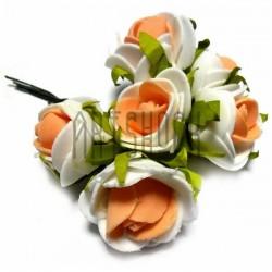 Набор декоративных розочек из фоамирана на проволоке, бело - оранжевого цвета, Ø25 - 30 мм., 6 штук, REGINA
