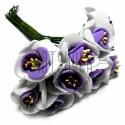 Набор декоративных розочек из фоамирана с тычинками на проволоке, бело - сиреневого цвета, Ø20 - 25 мм., 10 штук, REGINA