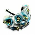 Набор декоративных розочек из фоамирана с тычинками на проволоке, бело - голубого цвета, Ø20 - 25 мм., 10 штук, REGINA