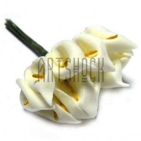 """Набор декоративных цветов """"Калла"""" из латекса на проволоке, молочного цвета, Ø20 - 25 мм., 12 штук, REGINA"""