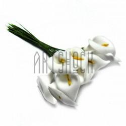 """Набор декоративных цветов """"Калла"""" из латекса на проволоке, белого цвета, 20 - 25 мм., 12 штук, REGINA"""