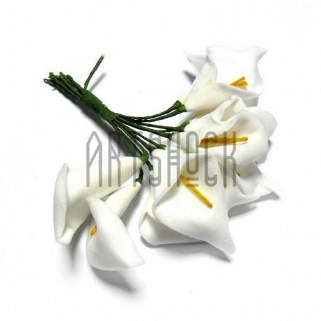 """Набор декоративных цветов """"Калла"""" из латекса на проволоке, белого цвета, Ø25 - 45 мм., 11 штук, REGINA"""
