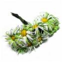 Набор декоративных ромашек из ткани на проволоке, бело - салатовые, Ø20 - 25 мм., 10 штук, REGINA