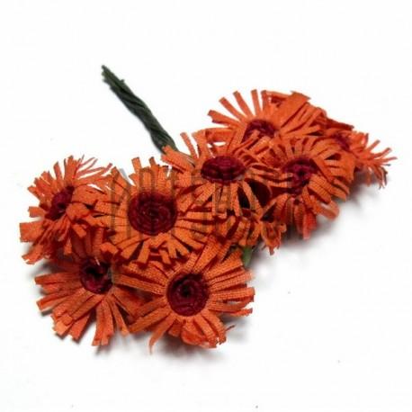 Набор декоративных ромашек из ткани на проволоке, оранжевые с красной сердцевиной, Ø20 - 25 мм., 10 штук, REGINA