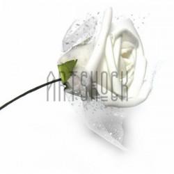 Декоративный бутон розы из латекса с белым фатином на проволоке, белого цвета, Ø45 - 60 мм., 1 штук, REGINA