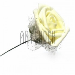 Декоративный бутон розы из латекса с белым фатином на проволоке, молочного цвета, Ø45 - 60 мм., 1 штук, REGINA