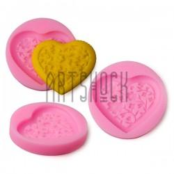 Силиконовый молд 3D (вайнер), сердце с цветами, размер: Ø5.7 см., толщина 0.9 см., REGINA