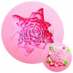 Силиконовый молд 3D (вайнер), бутон цветка с листьями, Ø7.1 см., толщина 1.9 см., REGINA