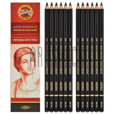 Карандаш GIOCONDA художественный, черный, твёрдый, в деревянном корпусе, Koh-I-Noor