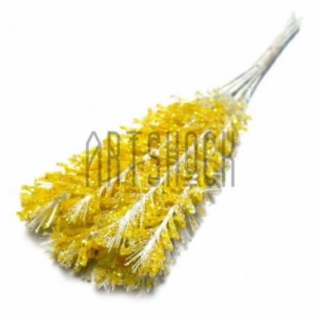 Набор декоративных стеблей с глиттером, желтые, 12 см., 10 штук, REGINA