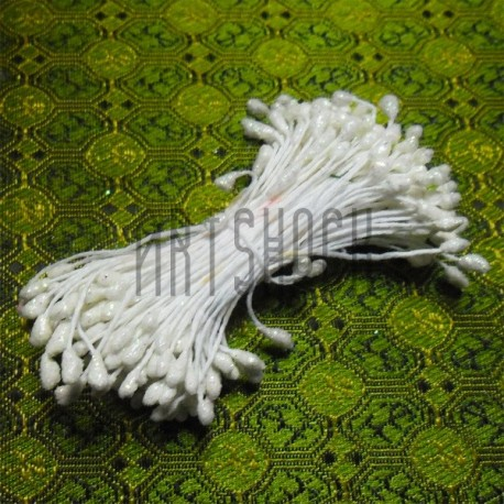 Тычинки для цветов двусторонние с глиттером, белые, размер Ø3 - 6 мм., длина 6 см., REGINA