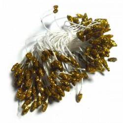 Тычинки для цветов двусторонние с глиттером, золото, размер Ø3 - 6 мм., длина 6 см., REGINA
