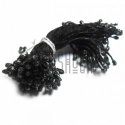 Тычинки для цветов двусторонние с глиттером, чёрные, размер Ø3 - 6 мм., длина 6 см., REGINA