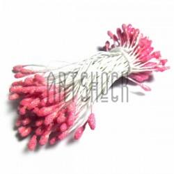 Тычинки для цветов двусторонние с глиттером, розовые, размер Ø3 - 6 мм., длина 6 см., REGINA