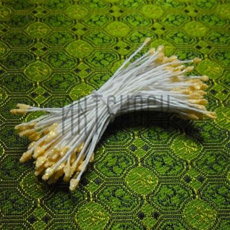 Тычинки для цветов двусторонние с глиттером, жёлтые, размер Ø3 - 6 мм., длина 6 см., REGINA