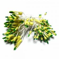 Тычинки для цветов двусторонние двухцветные, жёлто - зелёные, размер 3 мм., длина 6 см., REGINA