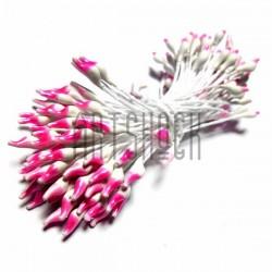 Тычинки для цветов двусторонние двухцветные, бело - розовые, размер 3 мм., длина 6 см., REGINA