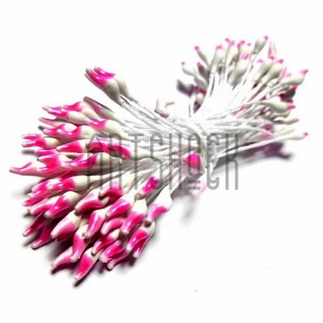 Тычинки для цветов двусторонние двухцветные, бело-розовые, размер 3 мм., длина 6 см., REGINA