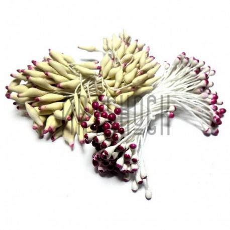 Тычинки для цветов двусторонние двухцветные, бело-бордовые, размер 3 мм., длина 6 см., REGINA