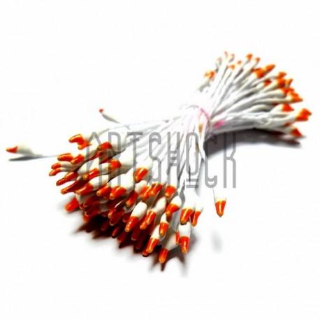 Тычинки для цветов двусторонние двухцветные, бело-оранжевые, размер 3 мм., длина 6 см., REGINA