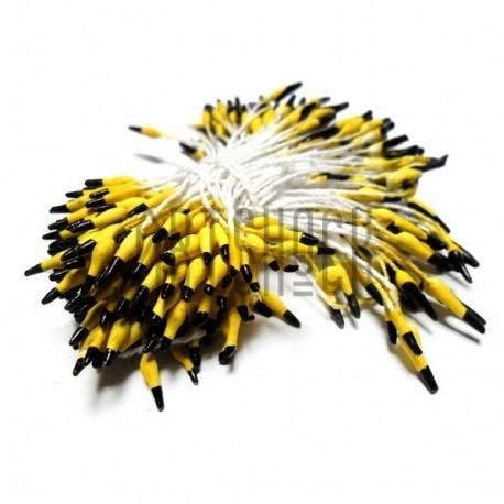 Тычинки для цветов двусторонние двухцветные, жёлто-чёрные, размер 3 мм., длина 6 см., REGINA
