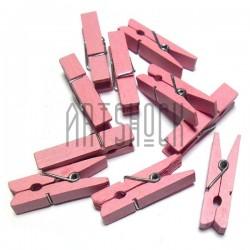 Набор светло - розовых деревянных декоративных прищепок, 0.7 x 3.5 см., 10 штук, REGINA