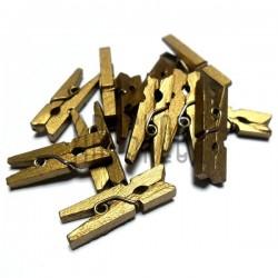 Набор золотых деревянных декоративных прищепок, 0.3 x 2.5 см., 12 штук, REGINA