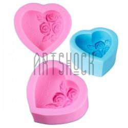 Силиконовый молд 3D (вайнер), сердце с розами и надписью I LOVE U, 7.3 x 6.5 см., толщина 3.4 см., REGINA