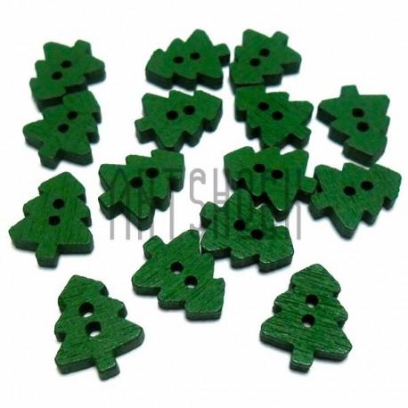 """Набор зеленых деревянных декоративных пуговиц """"Елка"""", 10 x 13 мм., 15 штук, REGINA"""