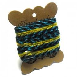Джутовая тесьма, плетеная натуральная сине - желтая, ширина - 2 см., толщина - 2 мм., REGINA