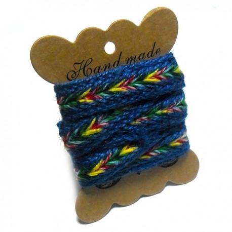 Джутовая тесьма, плетеная натуральная синяя с цветной косичкой, ширина - 2 см., толщина - 2 мм., REGINA