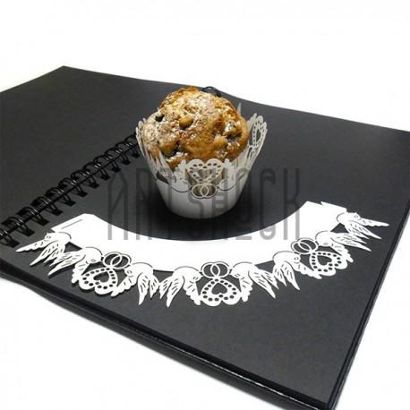 Ажурная накладка (формочка) для кексов, маффинов, капкейков с индивидуальным узором, белая, 25 штук