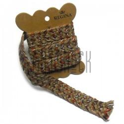 Джутовая тесьма, плетеная натуральная пеньковая с оранжевыми вставками, ширина - 1.8 см., толщина - 2 мм., длина - 1 м., REGINA