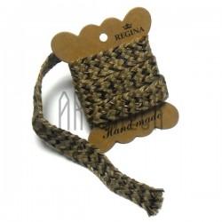 Джутовая тесьма, плетеная натуральная пеньковая с черными вставками, ширина - 1.8 см., толщина - 2 мм., длина - 1 м., REGINA