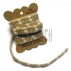 Джутовая лента плетеная натуральная пеньковая с бежевыми нитями, ширина - 1.5 см., толщина - 3 мм., длина - 1.5 м., REGINA