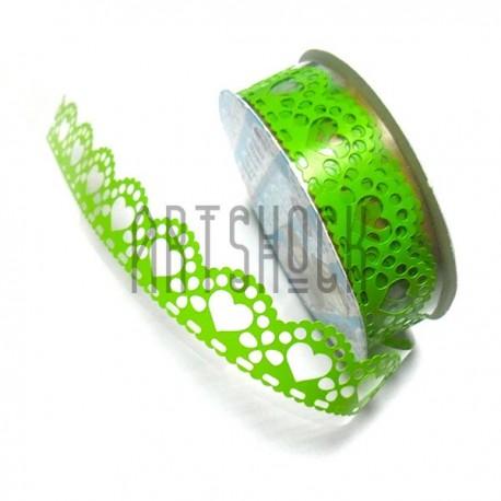 """Лента самоклеющаяся """"Сердце Зелёное"""" трафаретная, 18 мм., 1 м."""