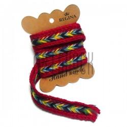 Джутовая тесьма, плетеная натуральная красная, ширина - 2 см., толщина - 2 мм., REGINA