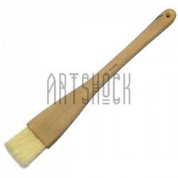 Кисть плоская из волоса щетины с цельнодеревянной ручкой, №4, BOMEGA
