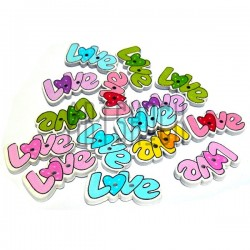 """Набор цветных деревянных декоративных пуговиц """"LOVE"""", 28 x 15 мм., 15 штук, REGINA"""