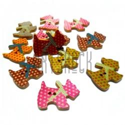 """Набор цветных деревянных декоративных пуговиц """"Собака"""", 27 x 20 мм., 12 штук, REGINA"""
