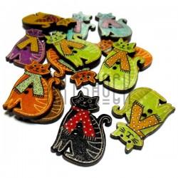 """Набор цветных деревянных декоративных пуговиц """"Кот с шарфом"""", 30 x 20 мм., 12 штук, REGINA"""