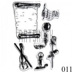 """Штампы для скрапбукинга (силиконовые штампы), набор """"Музыка при свечах"""", 10 х 15.5 см."""