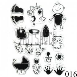 """Штампы для скрапбукинга (силиконовые штампы), набор """"Детство"""", 10 х 15.5 см."""