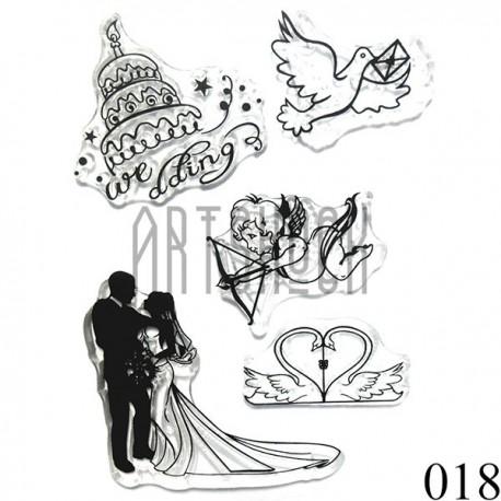 """Штампы для скрапбукинга (силиконовые штампы), набор """"Wedding"""", 10 х 15.5 см."""