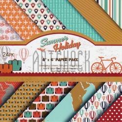 """Набор бумаги для скрапбукинга """"Summer Holiday"""", 12 дизайнов по 2 листа, 24 листа, 15.2 x 15.2 см., 160 гр/м²"""