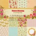 "Набор бумаги для скрапбукинга ""Flowers Blooming"", 12 дизайнов по 2 листа, 24 листа, 15.2 x 15.2 см., 160 гр/м²"