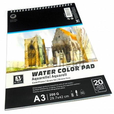 Альбом бумаги для акварели, 297 x 420 мм., 200 гр./м2., 20 листов, Art Nation